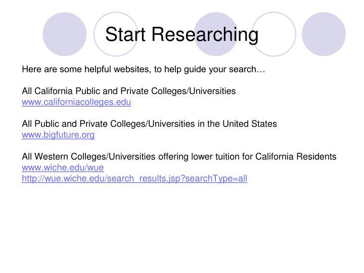 Start Researching