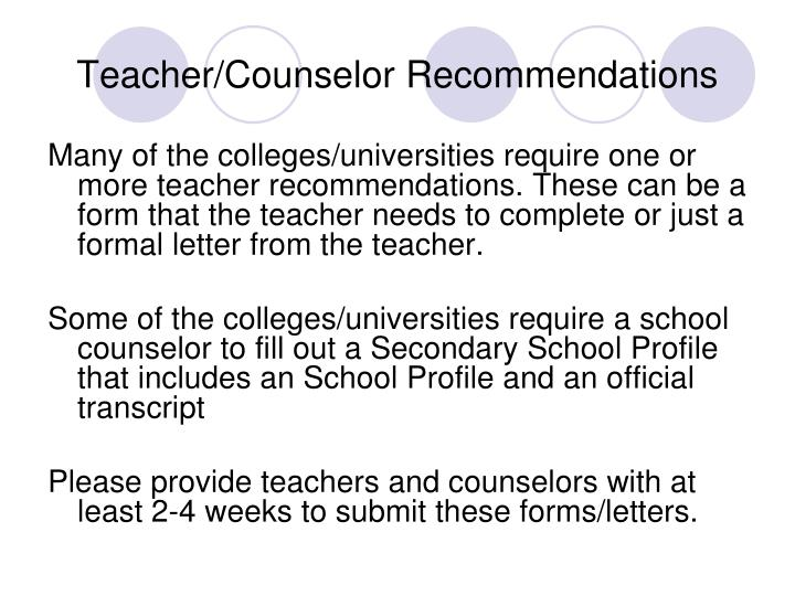 Teacher/Counselor Recommendations