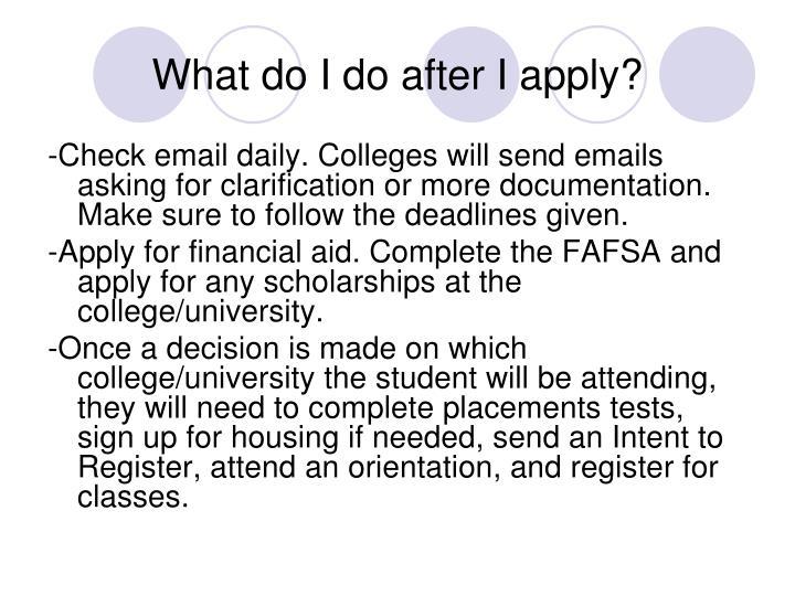 What do I do after I apply?