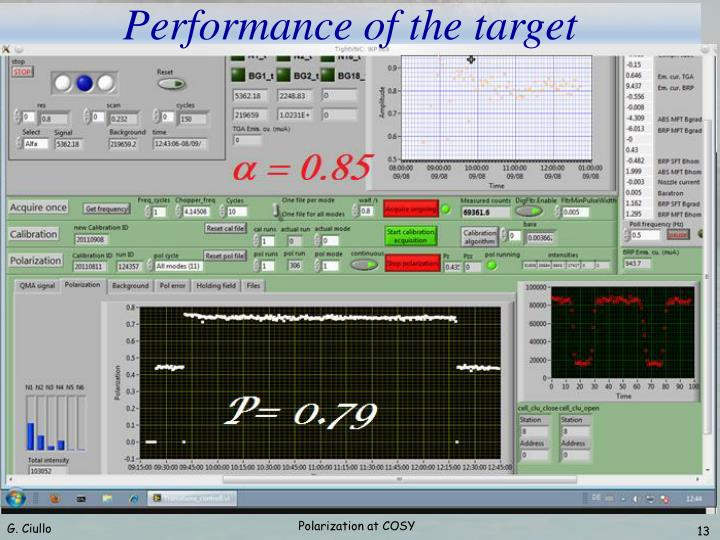 Performance of the target