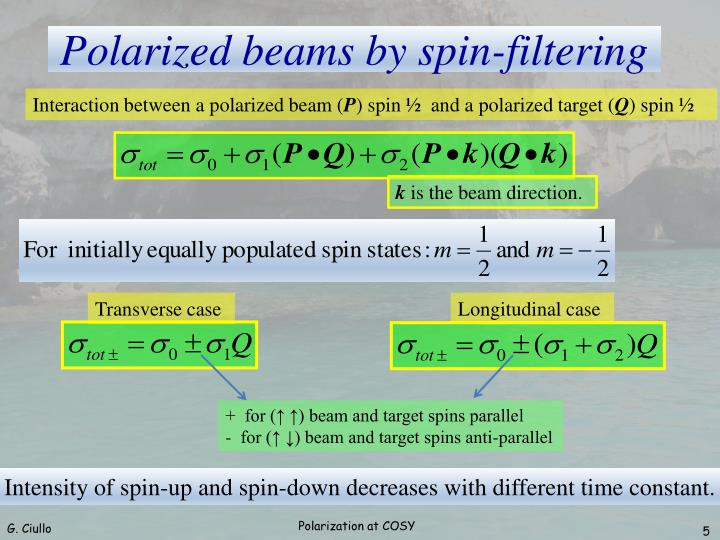 Interaction between a polarized beam (