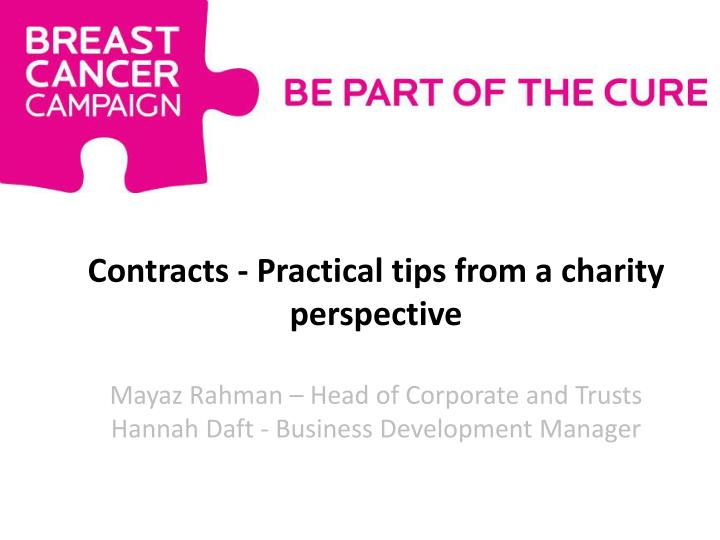 Contracts - Practical tips from a charity perspective