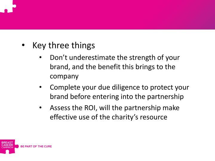 Key three things