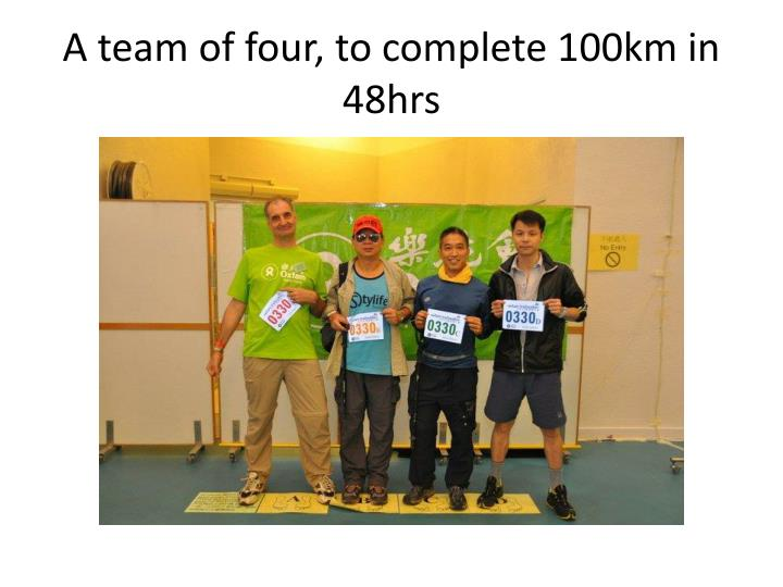 A team of four, to complete 100km in 48hrs