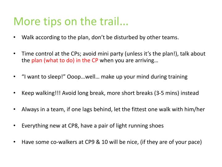 More tips on the trail