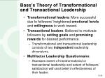 bass s theory of transformational and transactional leadership