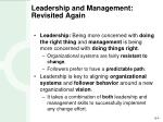leadership and management revisited again