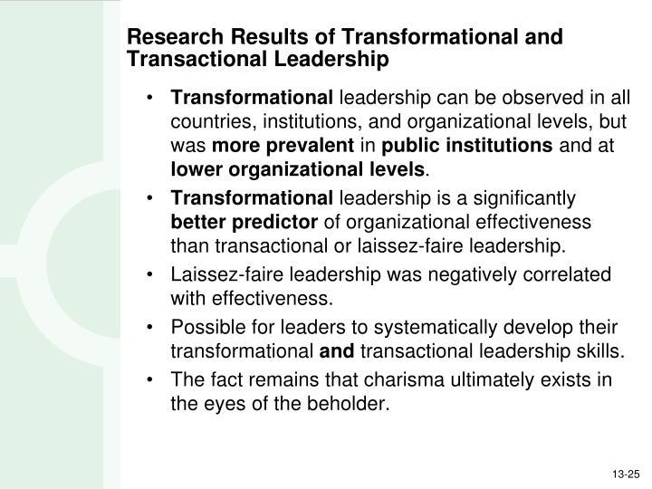Research Results of Transformational and Transactional Leadership