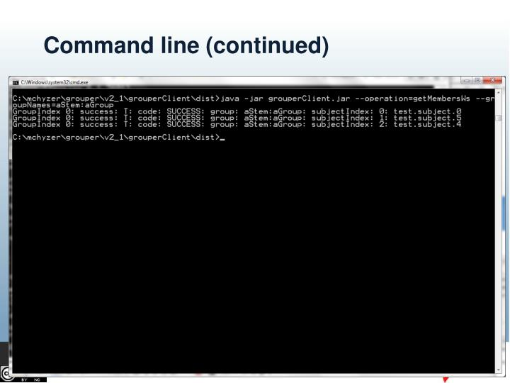 Command line (continued)