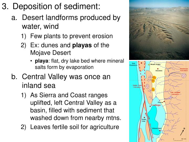 Deposition of sediment: