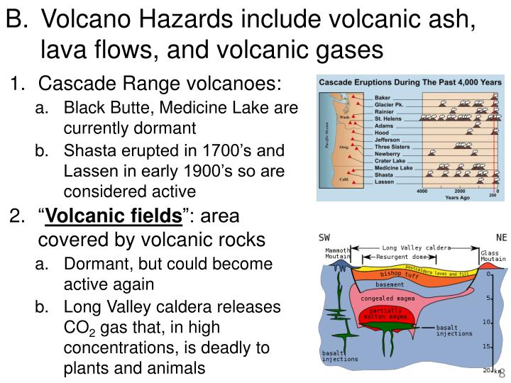 Volcano Hazards include volcanic ash, lava flows, and volcanic gases
