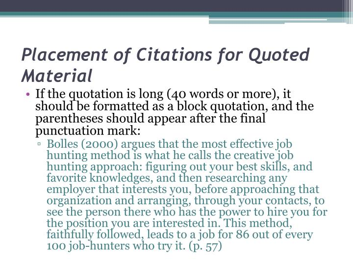 Placement of Citations for Quoted Material