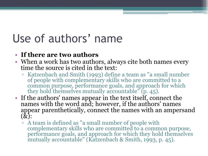 Use of authors' name
