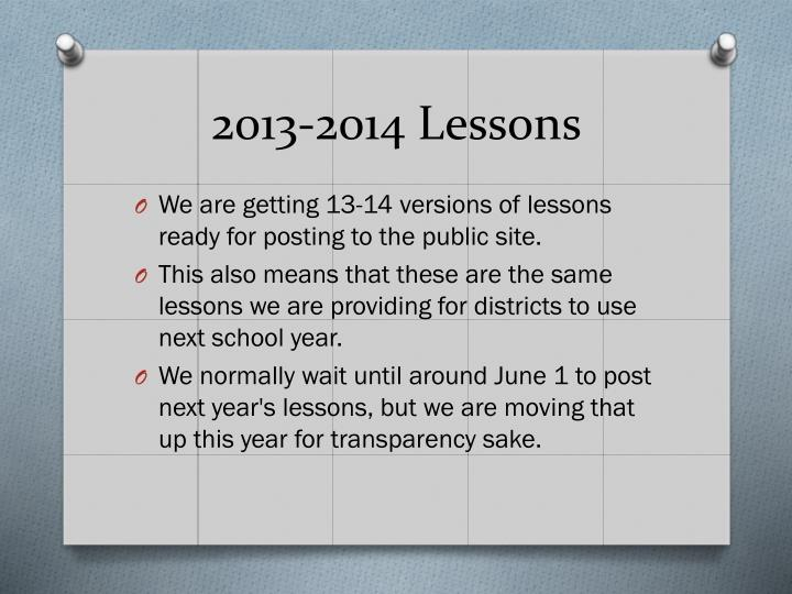 2013-2014 Lessons