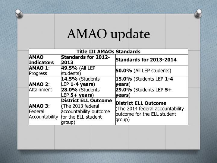 AMAO update