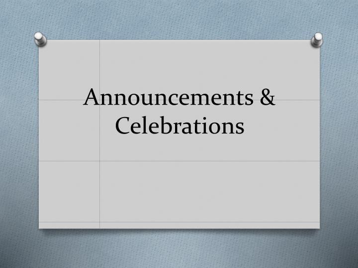 Announcements &