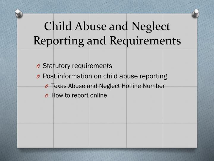 Child Abuse and Neglect Reporting and Requirements