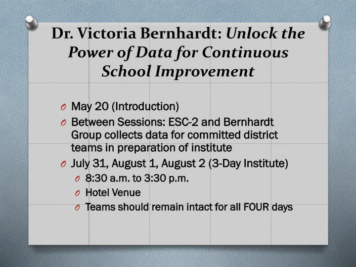 Dr. Victoria Bernhardt: