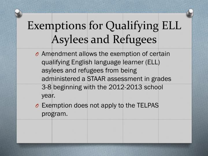 Exemptions for Qualifying ELL