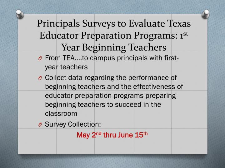Principals Surveys to Evaluate Texas Educator Preparation Programs: 1