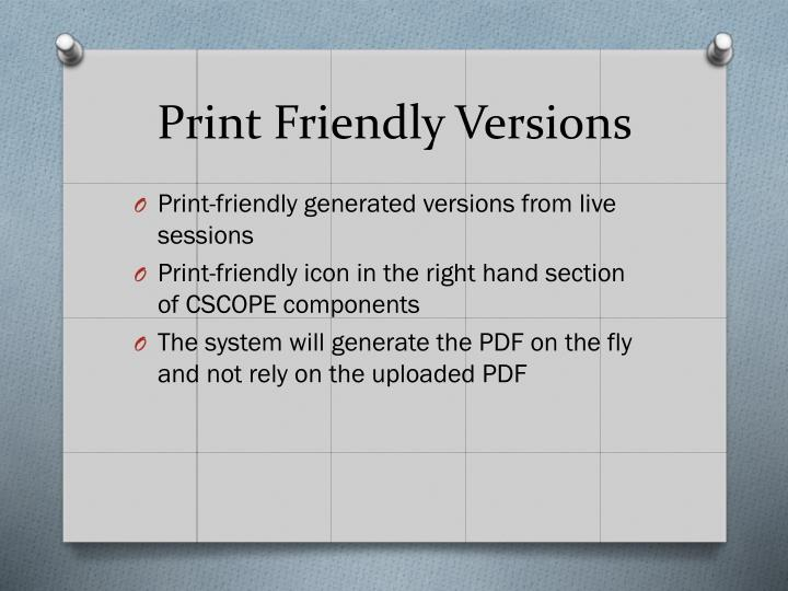 Print Friendly Versions