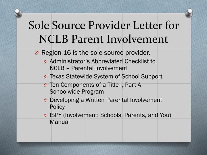 Sole Source Provider