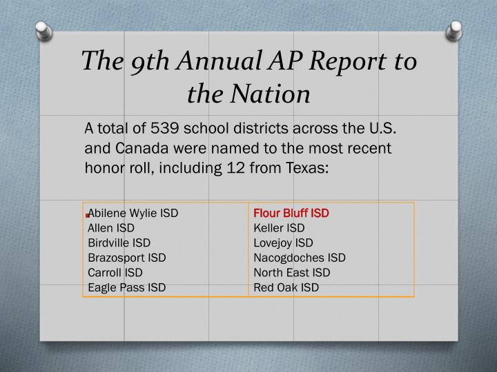 The 9th Annual AP Report to the Nation