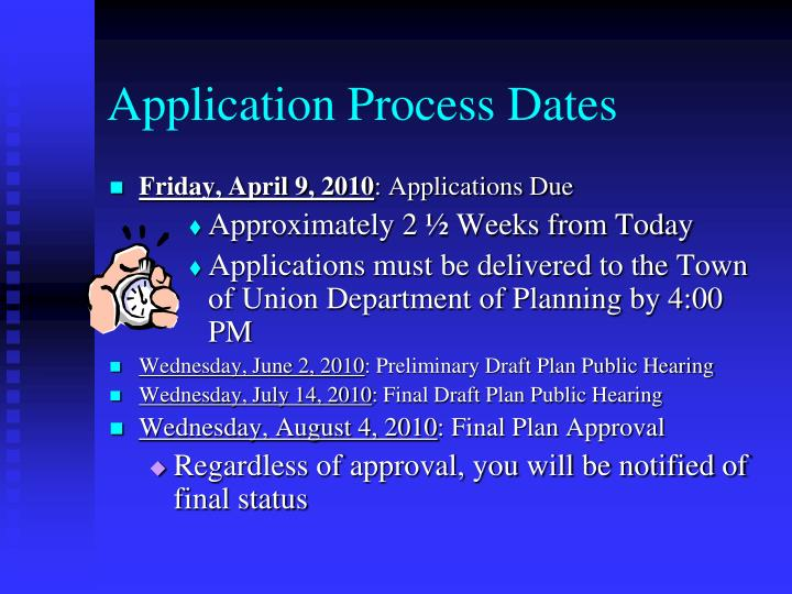 Application Process Dates
