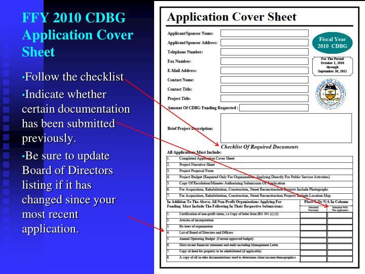 FFY 2010 CDBG Application Cover Sheet