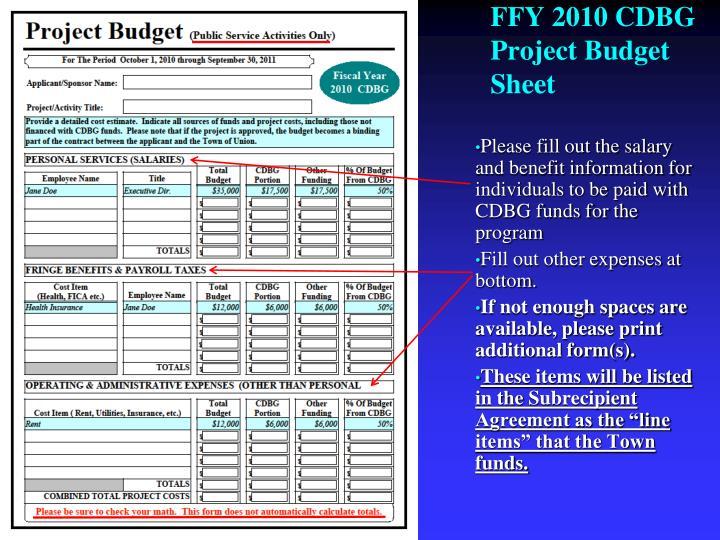 FFY 2010 CDBG Project Budget Sheet