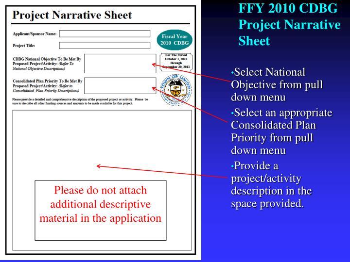 FFY 2010 CDBG Project Narrative Sheet