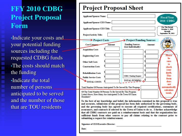 FFY 2010 CDBG Project Proposal Form