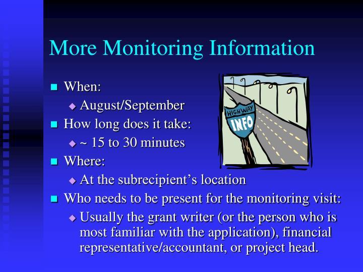 More Monitoring Information