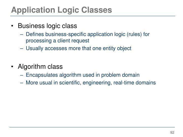 Application Logic Classes