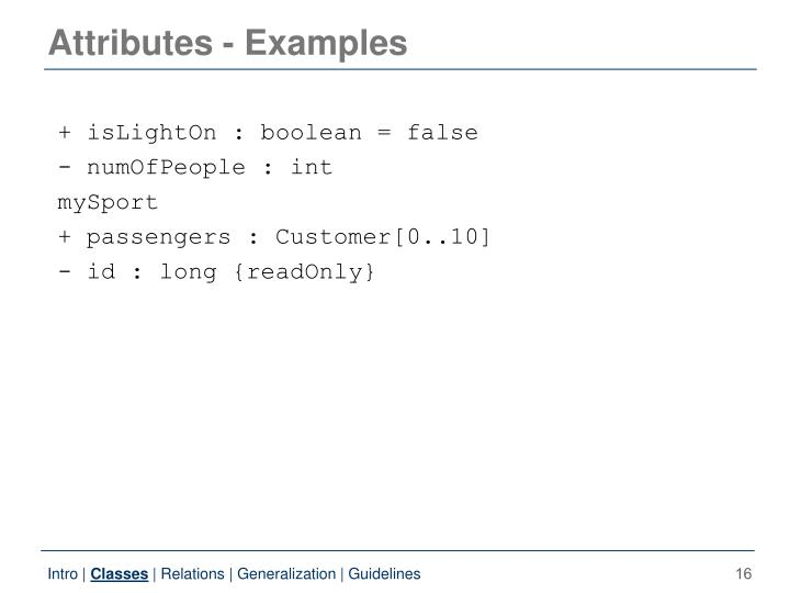 Attributes - Examples