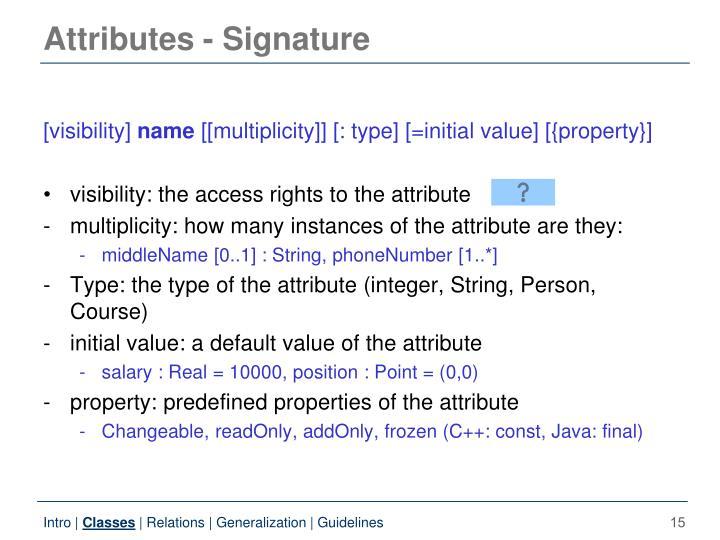Attributes - Signature
