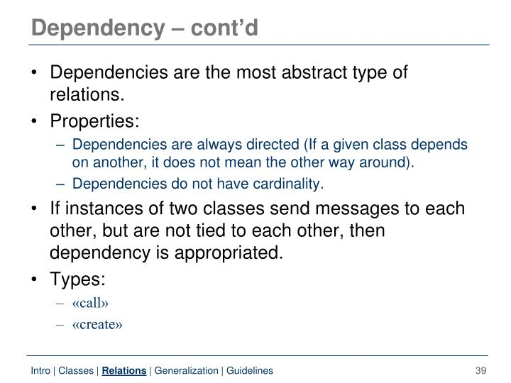 Dependency – cont'd