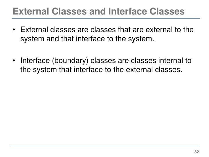 External Classes and Interface Classes