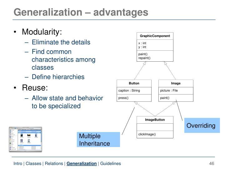 Generalization – advantages