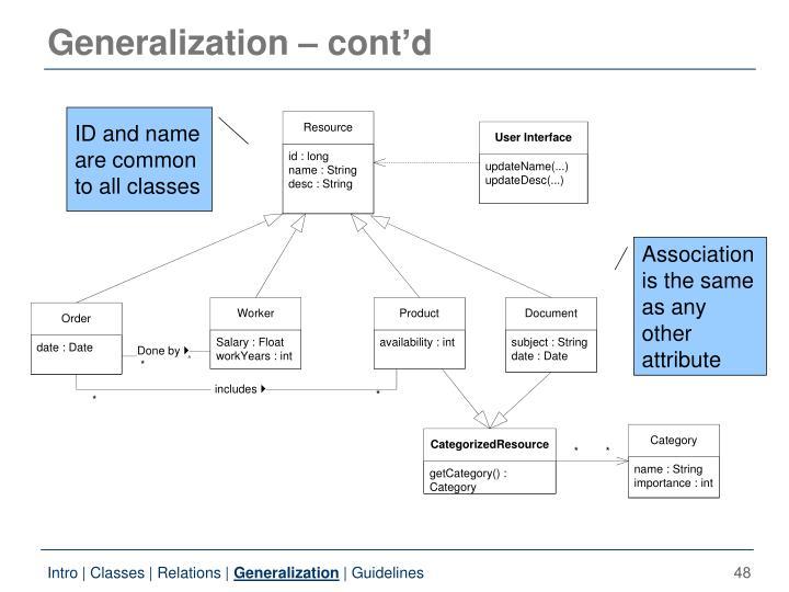 Generalization – cont'd