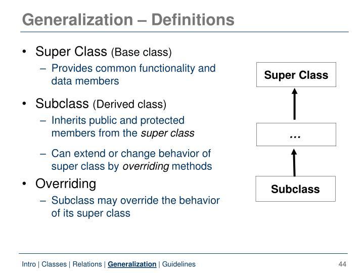 Generalization – Definitions