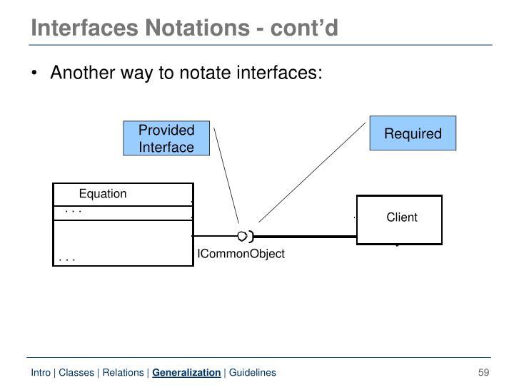 Interfaces Notations - cont'd