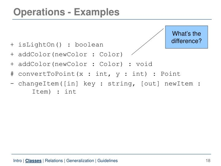 Operations - Examples