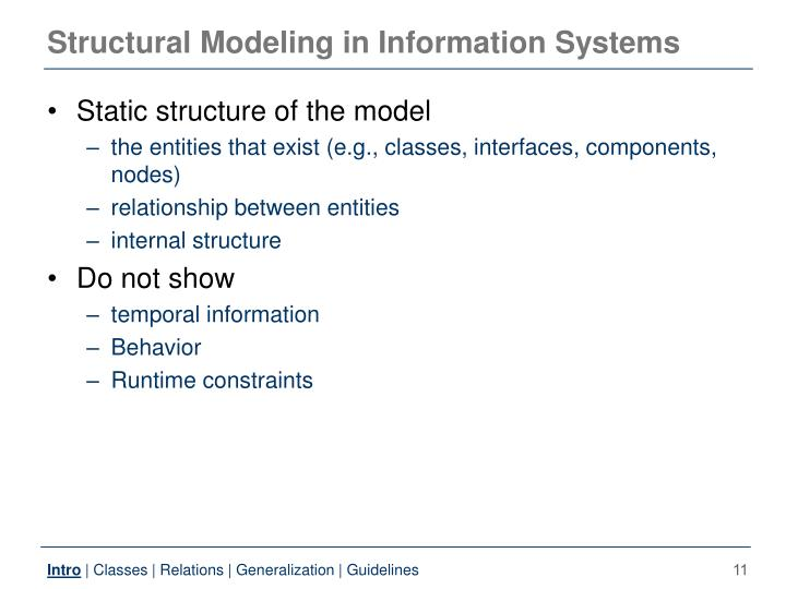 Structural Modeling in Information Systems
