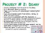 project 2 diary