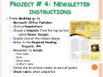 project 4 newsletter instructions