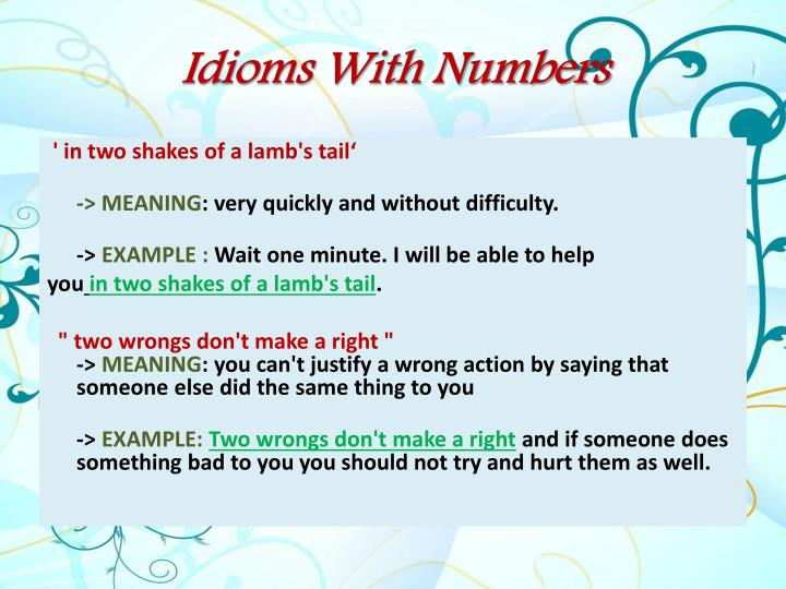 Idioms With Numbers