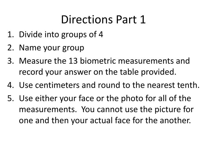 Directions Part 1