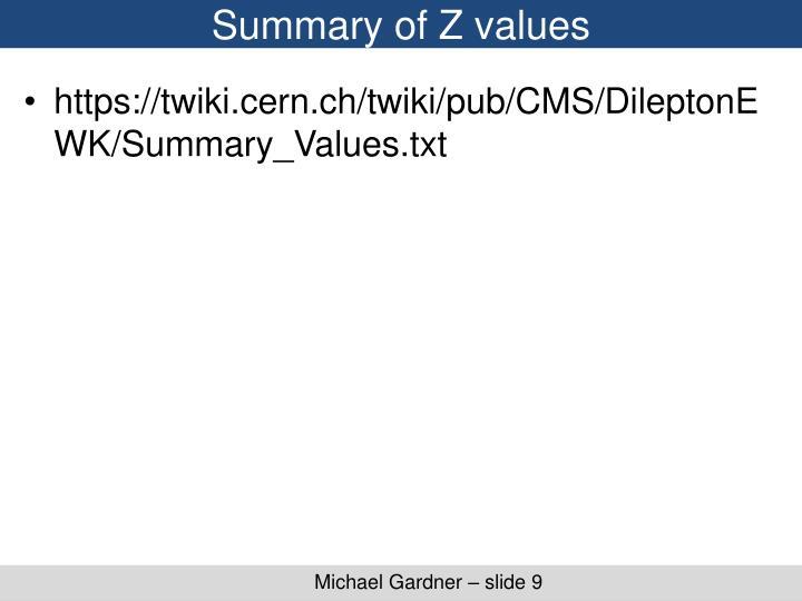 Summary of Z values