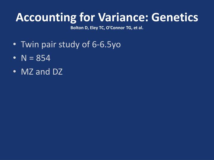 Accounting for Variance